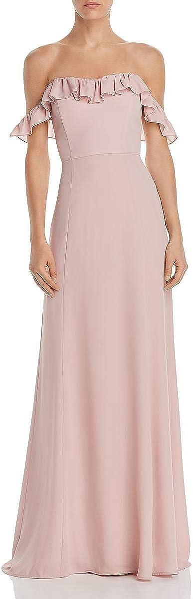 WAYF Womens Harlow Ruffled Off-The-Shoulder Evening Dress