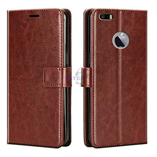 Xester Magnetic Closure Flip Cover with stand for apple iphone 5s (Faux Leather,Brown)