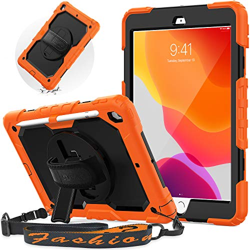iPad 10.2 Inch Case, iPad 8th/ 7th Generation Case 2020/2019, SEYMAC Shockproof Rugged Case with 360 Rotating Hand Strap/Stand, Portable Shoulder Strap, Screen Protector, Pencil Holder for Kids,Orange