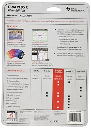 Texas Instruments TI-84 Plus C Silver Edition Graphing Calculator, Black Photo #2