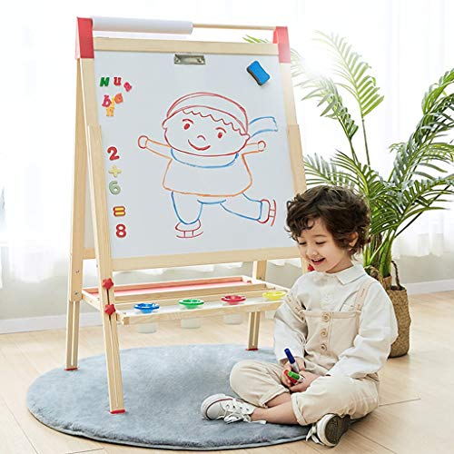 Vdaye Kids Easel Double-Sided Magnetic Whiteboard Standing Easel Multiple-Use Easel with Bonus Magnetics, Numbers, Paint Cups Best Gift for Kids Boys Girls (Kids Easel)