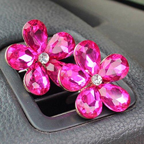 omufipw - Dekoration für die Klimaanlage von Ihrem Fahrzeug, blumenförmiger Diamant, exklusive Dekoration für die Innenausstattung, parfümiert, weiß
