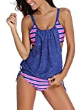 Zando Womens 2 Piece Swimsuits Double Up Tankini Swimsuits With Panty Stripe Lined Up Swimwear Bathsuit Maternity Swimsuits Bathing Suits For Women Pink Blue Stripe X-Large (fits like US 10-12) Prime