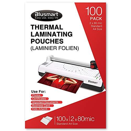 Blusmart, buste per plastificazione termica, alta qualità, 21,6 x 30 cm, spessore 6 mil (3 mil x 2)/160 mic (80 mic x 2), confezione da 100