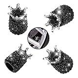Valve Stem Caps, Car Wheel Tire Valve, 4 Pack Handmade Crown Crystal Rhinestone Car Stem Air Caps Cover, Attractive Dustproof Bling Car Accessories, Universal for Most Vehicles (B-Black)