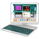 iPad 9.7キーボード 360度回転式 ipad キーボードカバー/キーボードケース 7カラーLEDバックライト 反転可能 オートストップ iPad Air,iPad Air 2,iPad Pro 9.7,2017/2018 New iPad 9.7に対応 (シルバー)