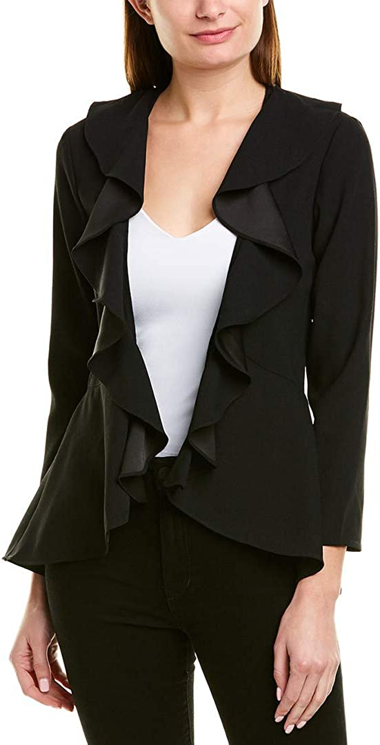 cupcakes and cashmere Women's Woods Satin Back Crepe Jacket with Ruffle Details