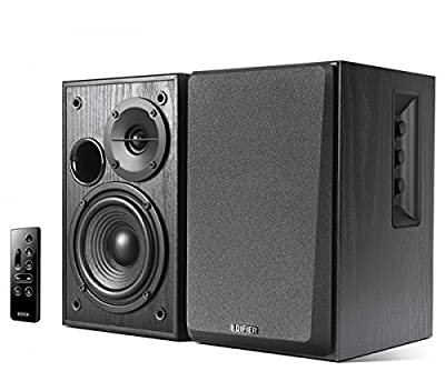 Edifier R1580MB Active 2.0 Studio Bookshelf Speaker System with Dual Microphone Inputs and Bluetooth Connectivity - Black Wood by Edifier