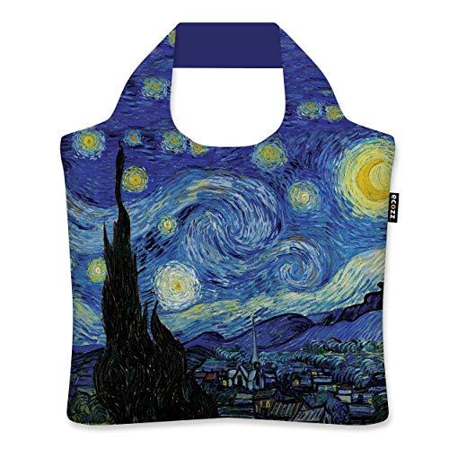 ecozz Starry Night - Vincent Van Gogh, rPET, Oeko-TEX, faltbar, Einkaufstasche mit Reißverschluss, Wiederverwendbar, Tragetasche, Handtasche, Tote Bag, Strandtasche, Umweltfreundlich, Einkaufsbeutel