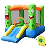 Costzon Inflatable Bounce House, Castle Jump and Slide Bouncer with Oxford Mesh Wall, Ideal for Indoor & Outdoor Use, Including Oxford Carrying Bag, Repair Kit, Stakes, 480W Air Blower