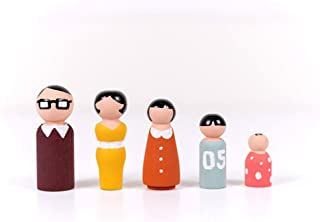 Hot Sale!DEESEE(TM)🌸🌸5Pcs Wooden Peg Dolls Family DIY Crafts Cake Topper Kid's Printed Decoration