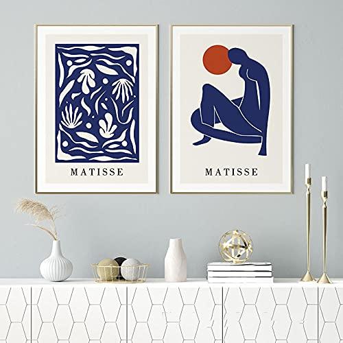 Matisse Decoracion Salon De Marco De La Azul SueñOs NóRdico Pared Cuadro Abstracto Matisse Arte Imprimir Pintura Silueta Inicio para Salon Poster 50x70cmx2 No
