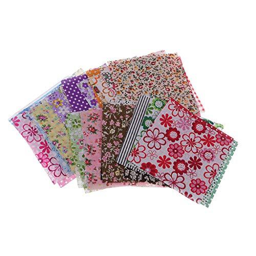 F Fityle 50 Unids Tela Floral Impreso Telas de Algodón Paquete Paño DIY Arte Tela de Remiendo 10x10cm