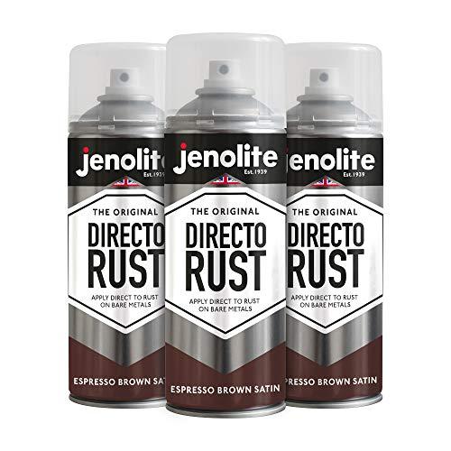 Jenolite Directorust Espresso Brown Sprühfarbe, direkt auf Rost auftragen, Grundierung, Grundierung und Decklack, seidenmatt, 3 x 400 ml (RAL 8017)