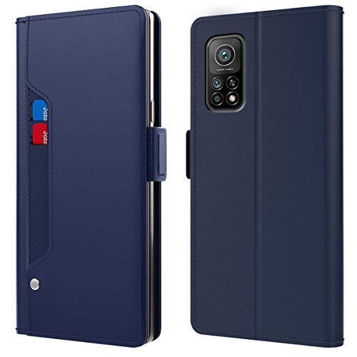 CHZHYU Funda de teléfono móvil para Xiaomi Mi 10T/Xiaomi Mi 10T Pro, funda de piel con cierre magnético, tarjetero, función atril, color azul