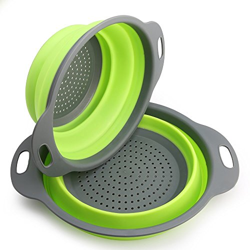 Virklyee Colador de cocina plegable, 2 piezas de filtro de silicona para...