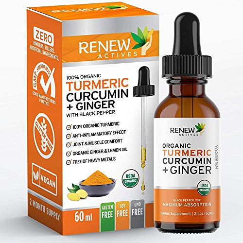 Renew Actives Turmeric Liquid Extract with Ginger & Lemon Oil - 100% Organic Pure Vegan Supplement, GMO Free, Best Absorption & Potency for Joint Pain, Inflammation & Antioxidant Support