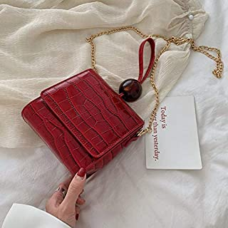Adebie - Casual Small Alligator Women Handbags Lady Acrylic Beading Purse Bags for Women PU Leather Flap Retro Bolsa Feminina Chic Totes Red []
