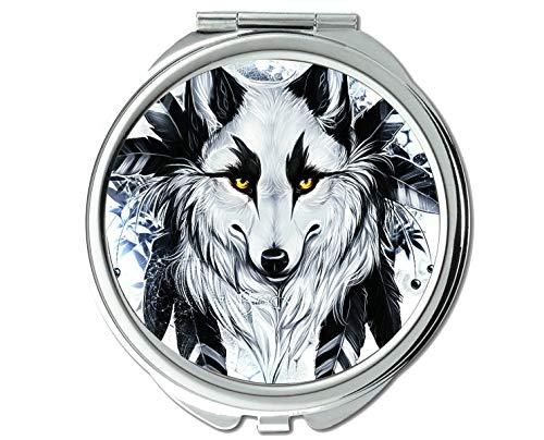 Yanteng Spiegel, Taschenspiegel, Animal Wolf Aufkleber Taschenspiegel, 1 X 2X Vergrößerung