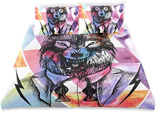 Juego de Funda nórdica Lone Wolf Growling Tuxedo Unleashed Bow Juego de Cama Decorativo de 3 Piezas con 2 Fundas de Almohada