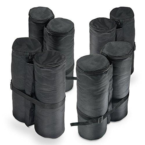 JOM Pavillon Gewichte, 4er Set, schwarz zum Befüllen mit Sand (jeweils ca.24 Kg) aus 180g Polyester mit PA Beschichtung, 14x42 cm für Bierzelt, Partyzelt, Gartenpavillon