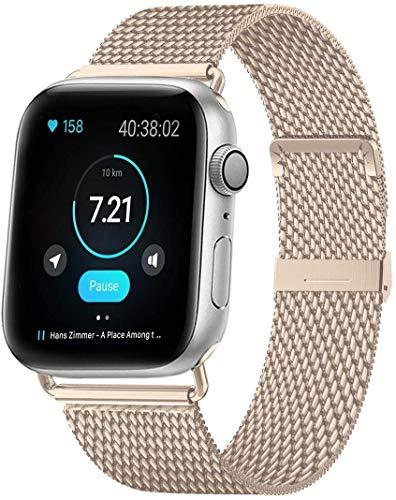 MouKou - Cinturino per Apple Watch Serie 5/4/3/2/1, 38 mm, 40 mm, 42 mm, 44 mm, maglia milanese con chiusura magnetica, cinturino di ricambio in acciaio inox, Champagne-nuovo, 40MM/38MM