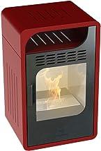 GMR Estufa llama Junior ventilada de biotenialo, color burdeos, 3 kW, estufas y chimeneas