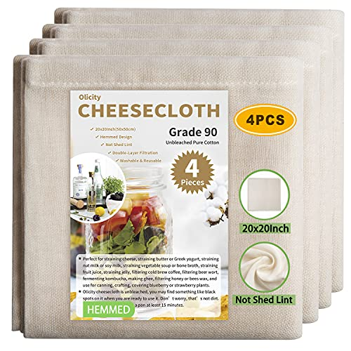 Olicity Paños de queso, grado 90, 50,8 cm x 50,8 cm, tela de muselina de algodón puro sin blanquear, ultra fina, reutilizable, borde...