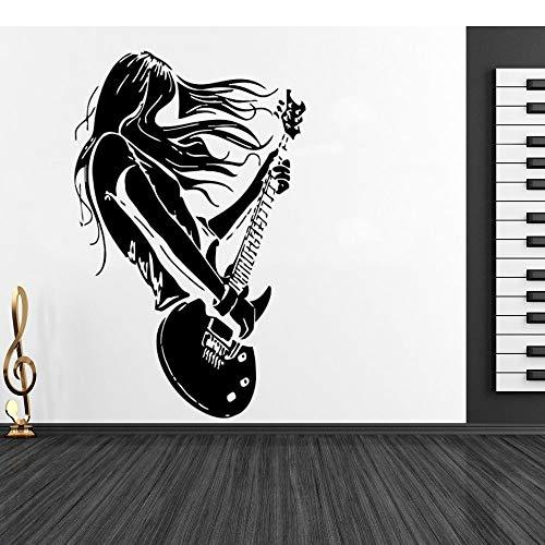 JXMN Música Rock de Pelo Largo Tocando la Guitarra Pegatinas de Pared Instrumento Musical decoración del hogar y la Sala de música Instrumento Musical 102x162cm