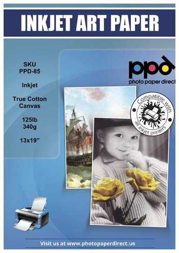 PPD Inkjet Canvas 100% Real Printable Cotton 13x19' 340gsm 125lbs x 10 Sheets PPD-85-10
