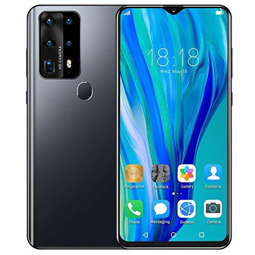 Teléfonos Móviles Libres Baratos 4G | Android 10 Celulares Desbloqueados con Huella Dactilar | Dual SIM Smartphone Libres | 2GB RAM + 32GB ROM | 6.8' Water-Drop Pantalla | Batería 4800mAh(Black)