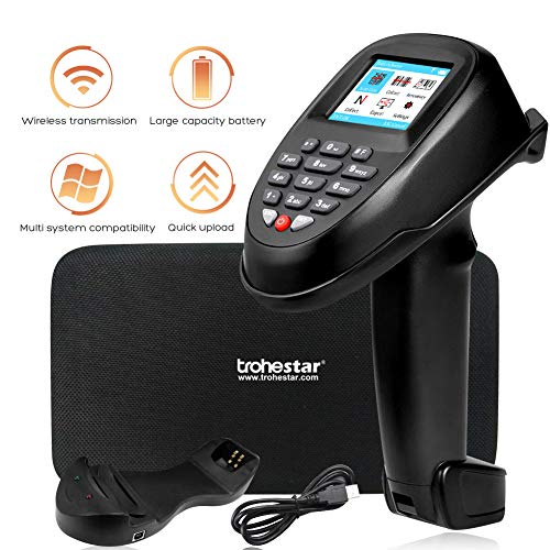 Trohestar Nuberopa N7 Wireless Barcode Scanner 1D Barcode Reader Portable Data Collector Handheld Inventory Scanner with LCD Screen & Cradle Receiver Charging Base for Express, Logistics, Warehouse barcode scanner wireless