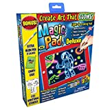 Ontel Deluxe Bonus Magic pad Light up LED Drawing Tablet which Includes 4 Dual Side Markets, Fun Guide 42 Stencils, Glow Boost Card, Dry Eraser and Carrying Case