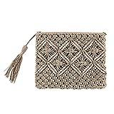 Mdsfe Lady Women Summer Lovely Retro Straw Knitted Handbag para Key Money Beach BagCoin Purse Card Clutch Bag-Grey, A4