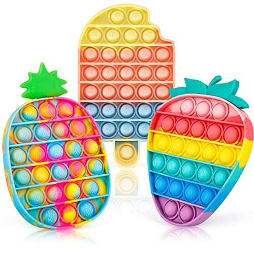 iTechjoy Pop Fidget Toys It 3 Pack for Kids and Adults, Push Bubble Its Sensory Pop Fidget Toy for Autism ADHD ADD to Relieve Stress, Pop Pop Bulk of Rainbow Ice Cream & Strawberry & Pineapple Shapes