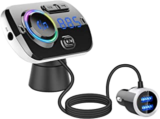 VR-robot QC3.0 Bluetooth 5.0 FM Transmitter for Car, Hands-Free Car Kit with Dual USB Charger & 7-Color LED Backlit, Support 2 Mobile Phones Connection, Siri/Google Voice Assistant, USB/TF Card/AUX
