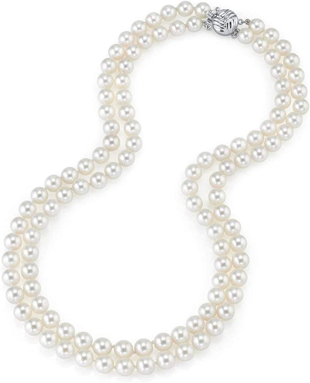 THE PEARL SOURCE 14K Gold 7-8mm AAA Quality Double Strand White Freshwater Cultured Pearl Necklace for Women in 18-19