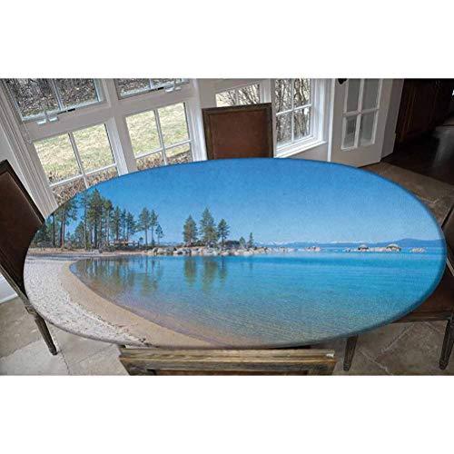 LCGGDB Lake Tahoe - Mantel ajustable de poliéster elástico para mesa, diseño de agua transparente en la orilla del lago Tahoe, ideal para mesas de hasta 122 cm de ancho x 172 cm de largo