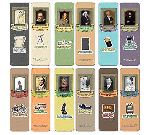 Creanoso Beroemde Man Uitvinders en hun uitvindingen te Educational Bookmarks Kaarten (12-Pack) - kleinigheidjes Premium Cadeautips voor kinderen, tieners, volwassenen collectieve weggevertjes & Part