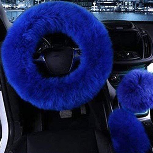 RIMEI 3 Piezas Cubierta del Volante del Coche Auto Largo Felpa cálida Cubierta del Freno de Mano del Volante Accesorios Interiores universales