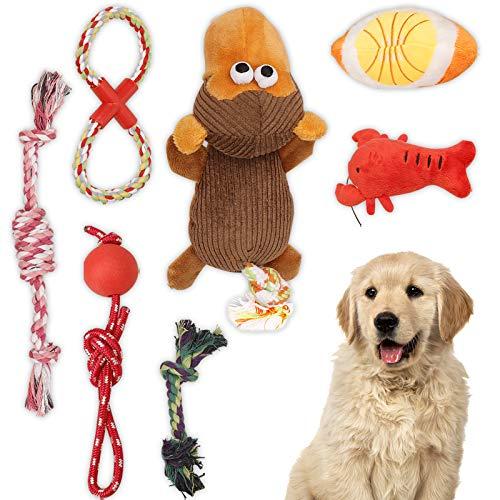 Welpenspielzeug, Hundespielzeug für kleine Hunde/ Welpen, 7-teiliges Set von Kauspielzeuge für Welpen, Quietschendes Plüschhundespielzeug, Hundeseilspielzeug für Langeweile