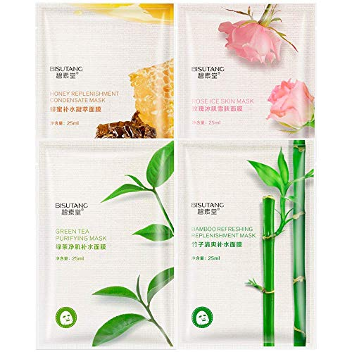 Pack 4 Mascarillas Faciales Hidratantes de Tejido, Purificante, Nutritiva, Rejuvenecedora, Refrescante, Limpieza Profunda, Ácido Hialurónico. (Miel+Rosa+Té Verde+Bambú)