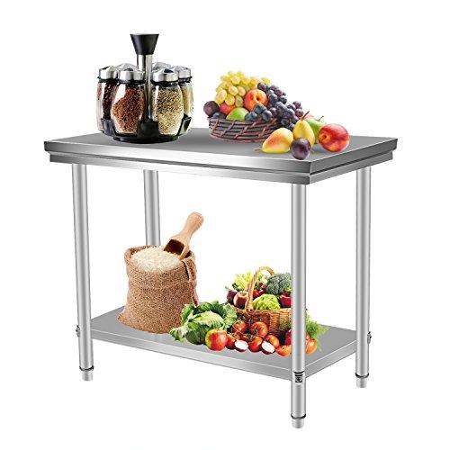 Homgrace Mesa de cocina en acero inoxidable con dos estantes, mesa para...