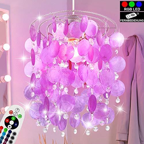 Decken Pendel Lampe lila FERNBEDIENUNG Muschel Hänge Leuchte dimmbar im Set inkl. RGB LED Leuchtmittel