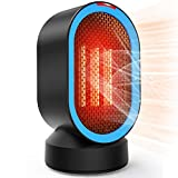 Coolast Small Space Heater, Electric Personal Heaters for Office Ceramic Heaters With Tip-Over Overheat Protection Oscillating Swing Portable 2 Seconds Heat-up for Desk Top Bedroom Home 600W