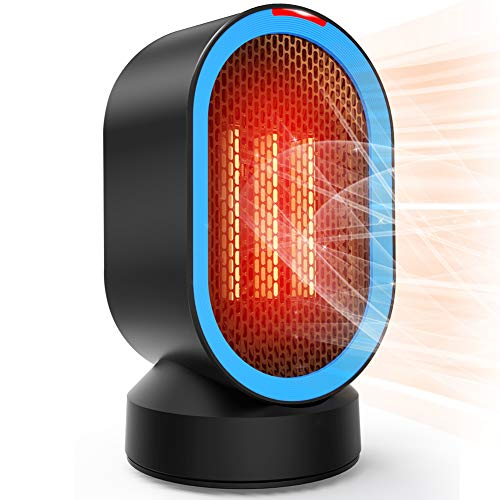 Toyuugo Space Heater, 600W Electric Heater Small Electric PTC Heater Portable Desk Fan Heater with Auto-Oscillating, Auto Shut Off, 2s Heat-up, Tip-Over and Overheat Protection for Home, Office (Blue)