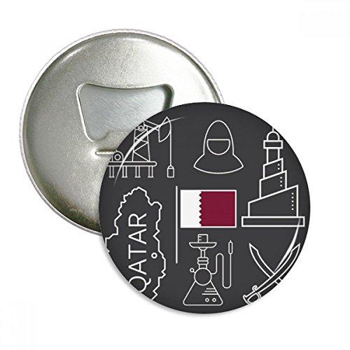 Drawing City Katar Flagge Petroleum R& Flaschenöffner Kühlschrank Magnet Pins Button Geschenk 3 Stück
