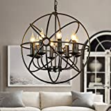 BAYCHEER große Lampe E14 Globe Hängeleuchte Käfig Industrielampe Industrie Lampe Wohnzimmer Kronleuchter (8 Flammige Schwarz)