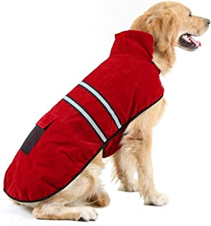 Hiado Dog Coat with Harness Hole and Reflective Strip for Winter Cold Weather