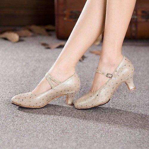 T.T-Q Zapatos de Baile de Mujer Cuero Moderno talón Cubano de Oro